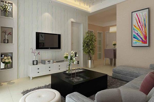 客厅背景墙后面是室内门装修效果图 简单大气