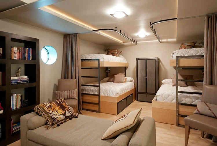 小户型家装儿童房双层榻榻米高低床装修设计图图片