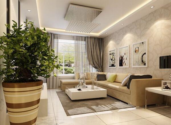 客厅没有阳台只有大门装修设计_客厅小房间装修效果图图片