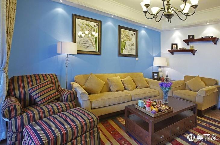 复古浅蓝色墙面配黑色服装房间装修风格效果图